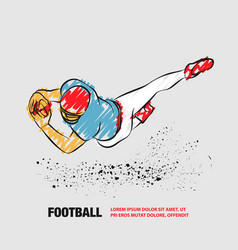 Football player catch ball in a jump outline vector