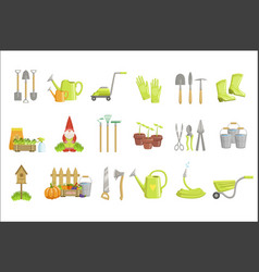 Gardening equipment set icons vector