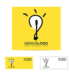 Genius bright idea light bulb logo vector image