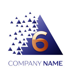 golden number six logo in the blue pixel triangle vector image