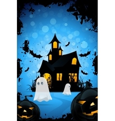 Halloween Background with Haunted House Pumpkins vector