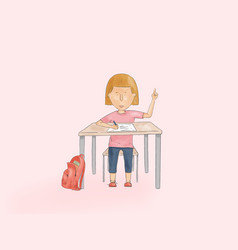 Hand drawn a kid pointing up on a school desk vector