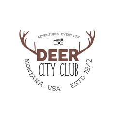 hand drawn deer vintage badge deer city club logo vector image