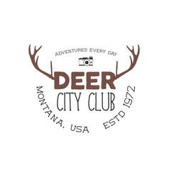 Hand drawn deer vintage badge deer city club logo vector