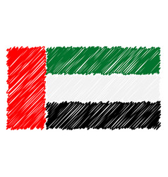 hand drawn national flag of united arab emirates vector image