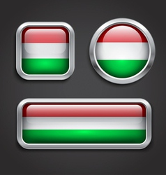 Hungary flag glass buttons vector image