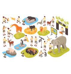 isometric animal park set vector image