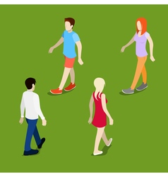 Isometric People Walking Man Walking Woman vector