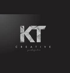 Kt k t letter logo with zebra lines texture vector
