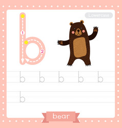 Letter b lowercase tracing practice worksheet vector