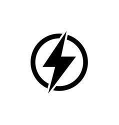 lightning electric power flat icon vector image