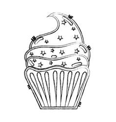 Line delicious cupcake to happy birthday vector