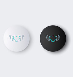 Line heart with wings icon isolated on grey vector