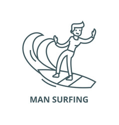 man surfing line icon linear concept vector image