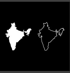 map of india icon set white color flat style vector image