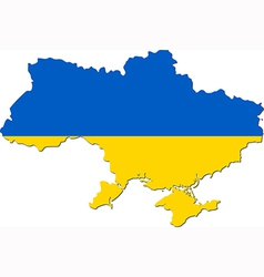 Map of Ukraine with national flag vector image
