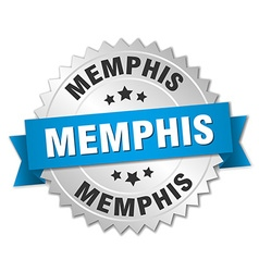 Memphis round silver badge with blue ribbon vector image