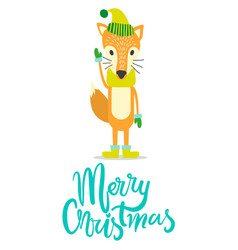 merry christmas greeting card with fox in warm hat vector image
