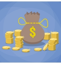 money bag and stacks gold coins vector image