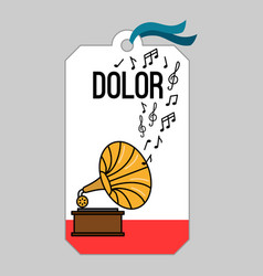 Music tag with gramophone vector