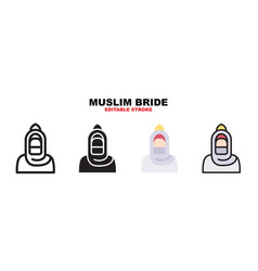 Muslim bride icon set with different styles vector