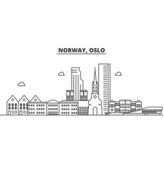 Norway oslo architecture line skyline vector