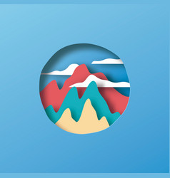 paper cut mountain hill landscape circle vector image