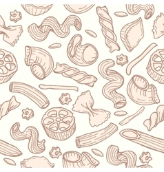 Pasta hand drawn seamless pattern vector image