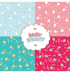 Patterns with baby bunnies vector