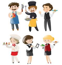 People doing different jobs in restaurant vector