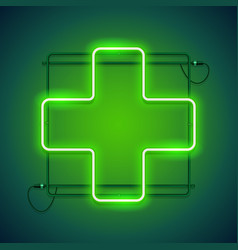 pharmacy neon sign with a green cross vector image