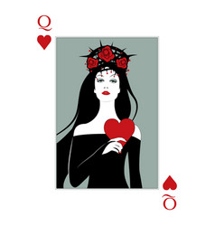 Queen hearts with crown roses and thorns vector