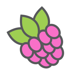 Raspberry line icon fruit and diet vector