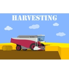 Red harvester working on the field vector