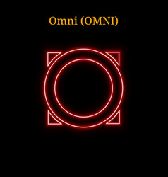 Red neon omni omni cryptocurrency symbol vector