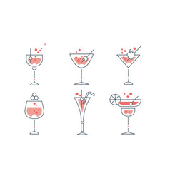 refreshing cocktails collection alcohol drinks vector image