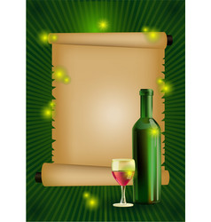 ripe grapes wine glass and bottle vector image