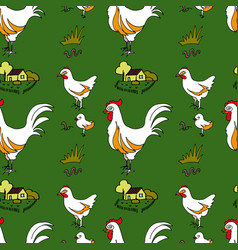 Rural pattern with image hens chickens vector