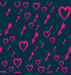 Seamless texture with hearts and arrows vector