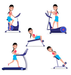 Set cartoon girl doing sports on simulator vector