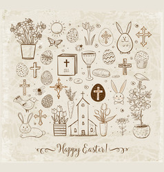set easter doodles on vintage background vector image