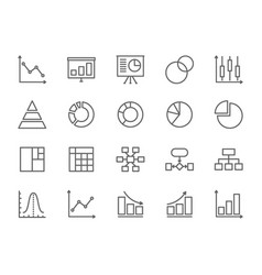 set graph and chart line icons pie chart vector image