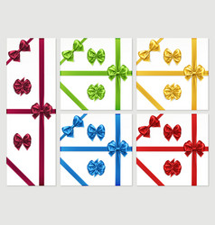 set isolated bow knots and favour ribbon vector image