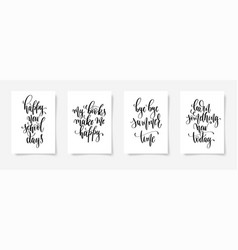 set of four black and white hand lettering concept vector image
