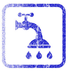 Shower tap framed textured icon vector