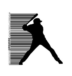 Silhouette of a baseball player and barcode vector