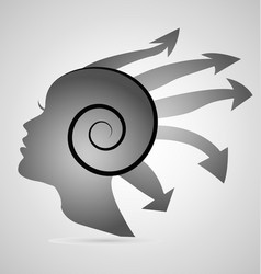 silhouette of a woman s head with arrows icon vector image