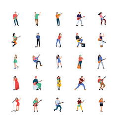 Singers and musicians flat characters vector