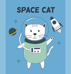 space cat with astronaut suit rocket and planet vector image