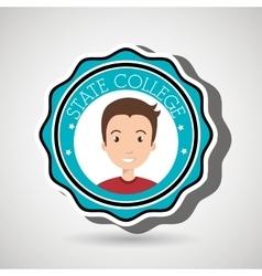 State college student emblem man vector